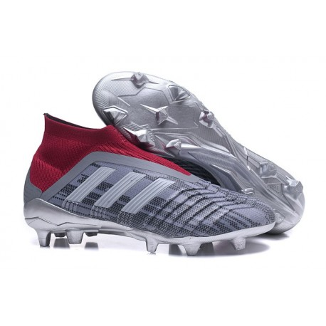 adidas New Predator 18+ FG Soccer Cleats Pogba Grey Red