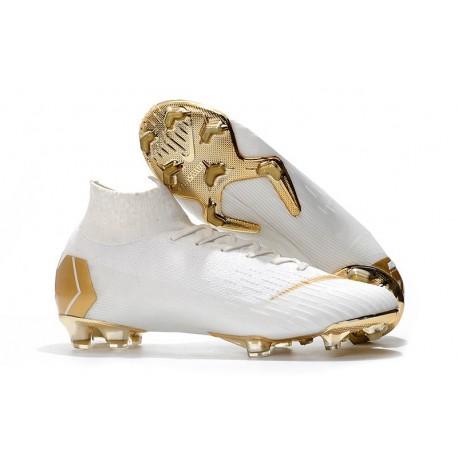 Nike Mercurial Superfly Vi Elite FG New Soccer Cleats - White Golden