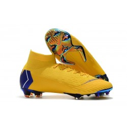 Nike Mercurial Superfly Vi Elite FG New Soccer Cleats - Yellow Blue