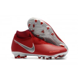 Nike Phantom Vision Elite DF Firm Ground Cleats Red Silver