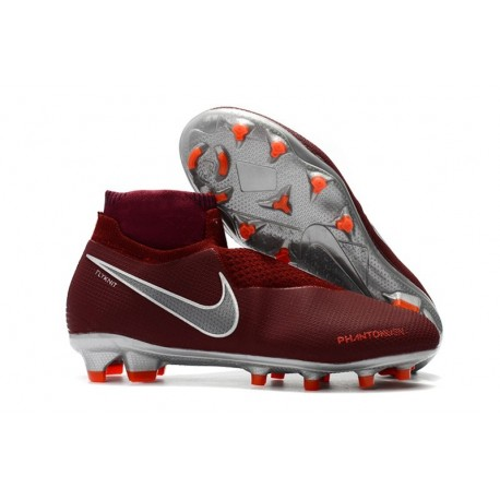 New Nike Phantom Vision Elite DF FG Soccer Boots - Red Silver