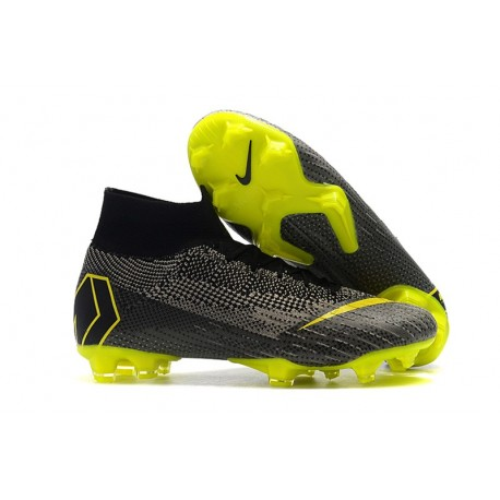 Nike New Mercurial Superfly VI 360 Elite FG Cleat - Black Grey Yellow