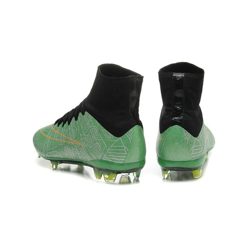 New 2015 Nike Mercurial Superfly Iv FG Football Cleats Green Gold Black