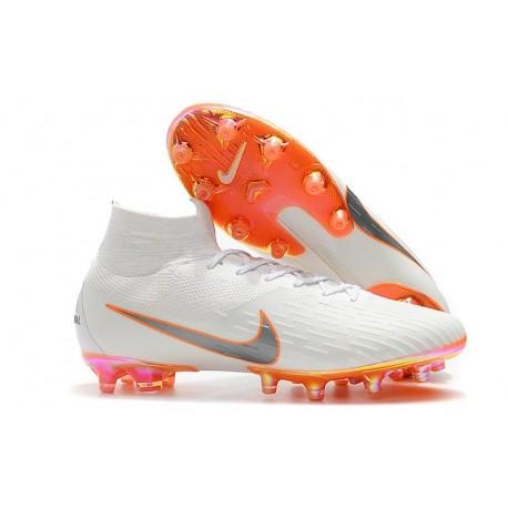 Nike Mercurial Superfly VI 360 Elite AG-Pro Cleats White Orange