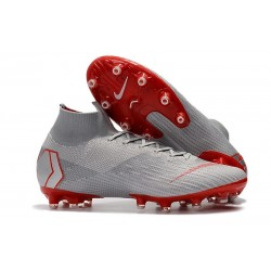 Nike Mercurial Superfly VI 360 Elite AG-Pro Cleats Gray Red